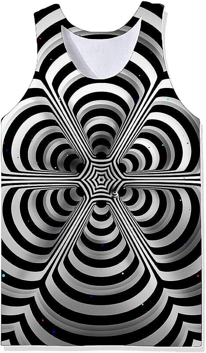 Lilinoffy Women Men Optical Illusion Glitch Trippy Tank Tops