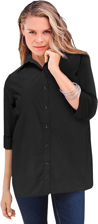 Roamans Women's Plus Size Three-Quarter Sleeve Kate Big Shirt Button Down Shirt Blouse