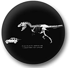 Jeep Spare Wheel Tire Cover [Black Leather Wrangler Accessories] UV Resistant, Heavy Duty, Non-Scratch Soft Back – Personalized with T-Rex Chasing Jeep – fits Grand Cherokee, Liberty, Renegade, SUV