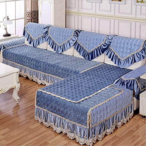 QFYD FDEYL Sofa Schutz Abdeckung,Italienisches Kaschmir-Sofakissen, rutschfeste Sofabezug-Blue_One Person 90 * 90,Sektionaltore Couch