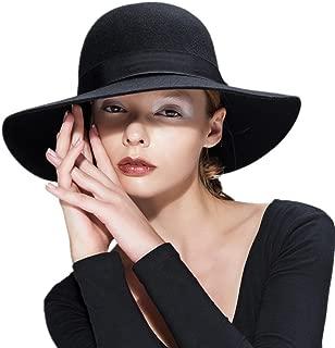 Wool Floppy Hat Felt Fedora Wide Brim Women's Vintage Bowler