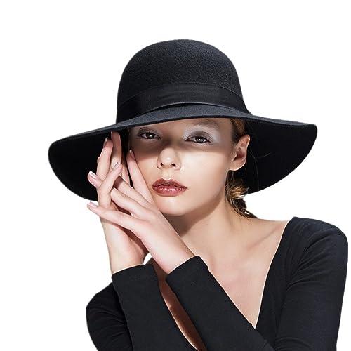 c223fffc3c4 Wool Floppy Hat Felt Fedora Wide Brim Women s Vintage Bowler