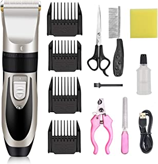 IVN Dog Clippers Low Noise Rechargeable Pet Clippers Electric with Comb Guides Scissors Nail Kits for Dogs Cats & Other