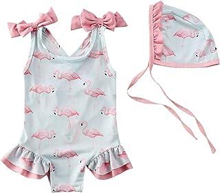 Topgrowth Costumi Da Bagno Bambina Costume Mare Bimba Fiore Costume Intero Bagnarsi Stampa di Lettere Beachwear Neonata Romper Senza Schienale Swimsuit