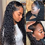 Deep Wave Lace Front Wigs with Baby Hair Pre Plucked 100% Unprocessed 9A Brazilian Deep Wave Lace Front Wigs Human Hair 150% Density Full End Lace Wigs Natural Color for Women(22Inch)