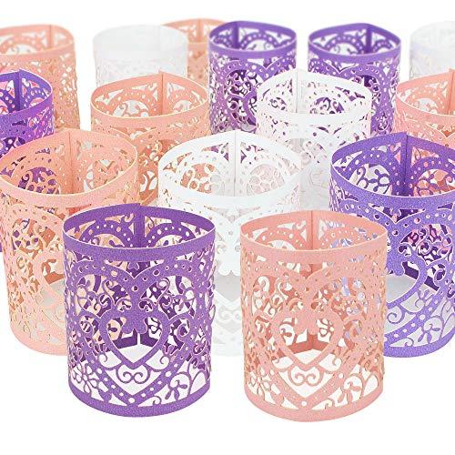 SelfTek 36piezas LED velas Portavelas vela envuelve para boda fiesta decoración de mesa (blanco rosa y morado)