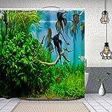Yoliveya Cortina Ducha Impermeable,Acuario Natural con Peces,Impresión de Cortinas baño con 12 Ganchos 150x180cm