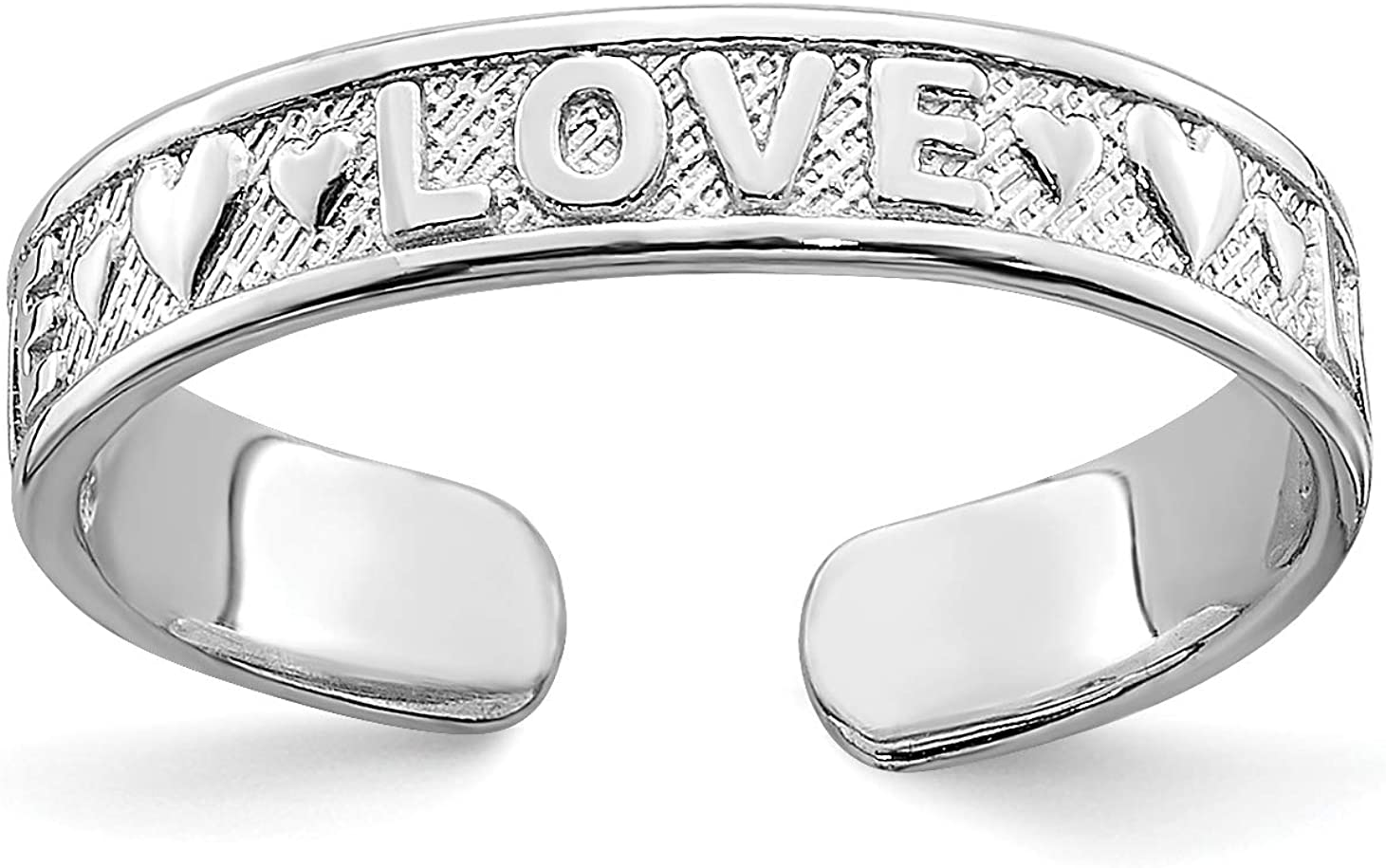 14k White Gold Love Word and Hearts Toe Ring with Textured Band