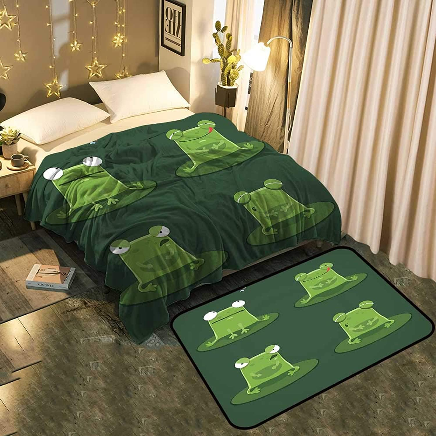 Bedside Blanket Doormat suitFunny Muzzy Frog on Lily Pad in Pond Hunting Tasty Fly Expressions Cartoon Cozy and Durable Blanket 50 x70  Mat 33 x21