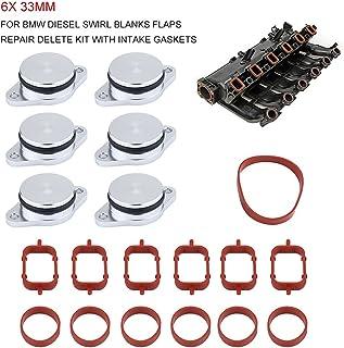 Qiilu 6X 33mm Diesel Swirl Flap Blanks Bungs Intake Gaskets Kit Fit for BMW 320d 330d 520d 525d 530d 730d
