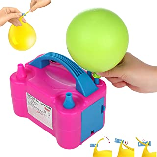 Party Zealot Electric Balloon Inflator with 100 Balloon Ties Air Pump Dual Nozzles Balloons Blower US Standard Plug for Balloon Arch, Balloon Column Stand, and Balloon Decoration
