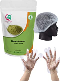 Yogi's Gift Organic Henna Hair Color Powder 227 Gram | 8 Oz | 100% Pure and Natural Color | No artificial coloring | Glove...