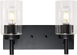 VINLUZ 2 Light Sconces Wall Lighting Black Modern Wall Lamp with Clear Glass Shade Bathroom Vanity Light, Industrial Vintage Wall Mounted Light Fixtures Bedroom Kitchen Stairs