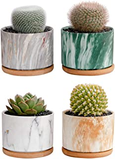 Succulent Pots, Krisami Round Marble Pattern Flower Planter Pot with Bamboo Tray, Small Plants Ceramic Flowerpot, Garden P...