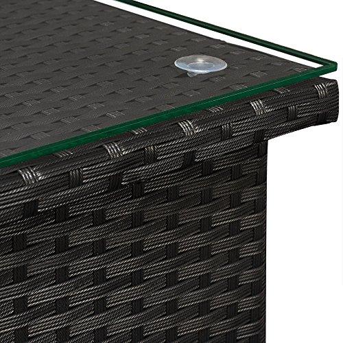 Deuba Polyrattan Tisch Beistelltisch Rattan Teetisch Gartentisch Glasplatte 50x50x45cm schwarz Garten Möbel - 5