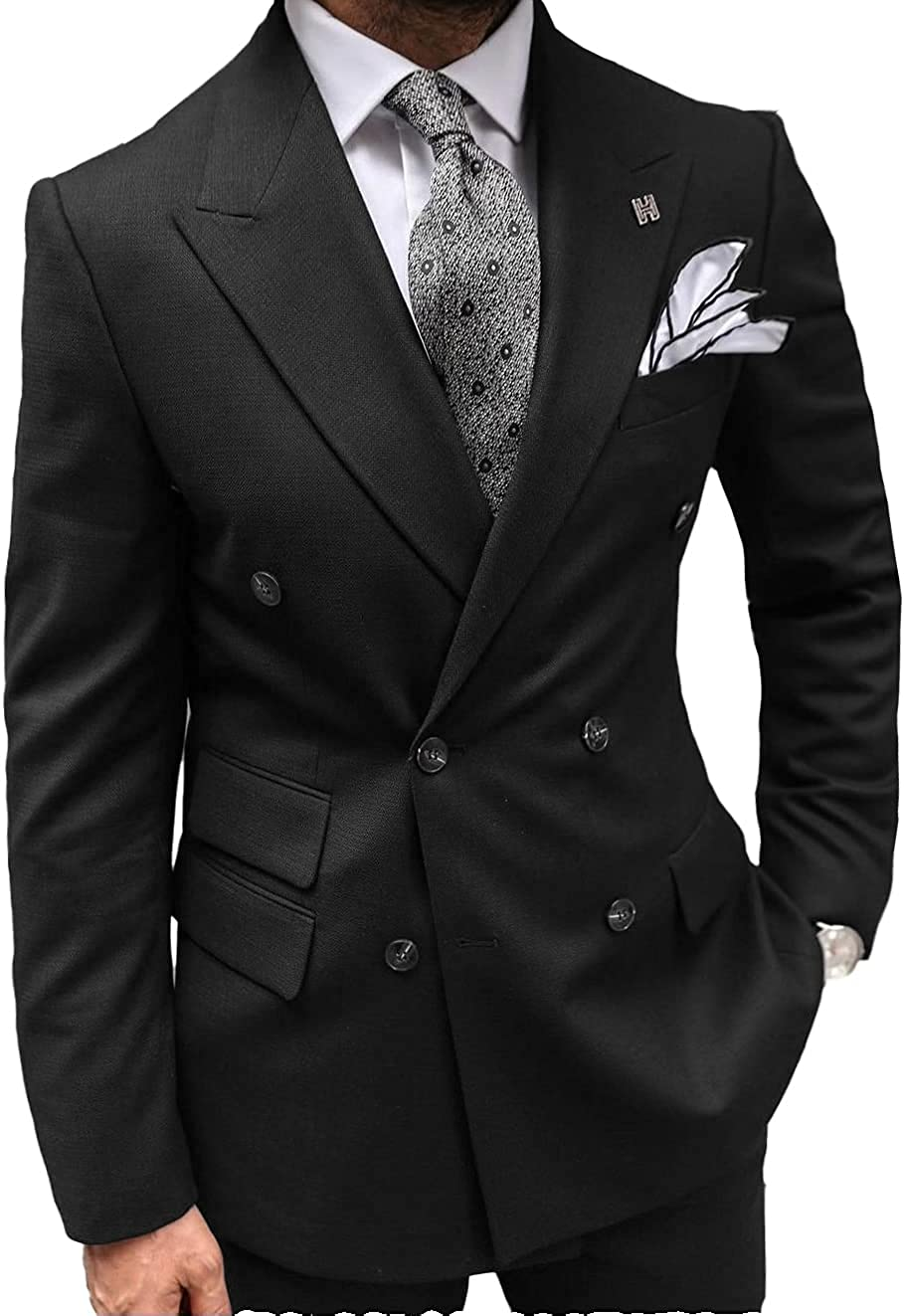 Jiaoyunshi Mens Suit Casual 2 Piece Formal for Wedding Double Breasted Business Prom Grooms Tuxedos Jacket +Pant