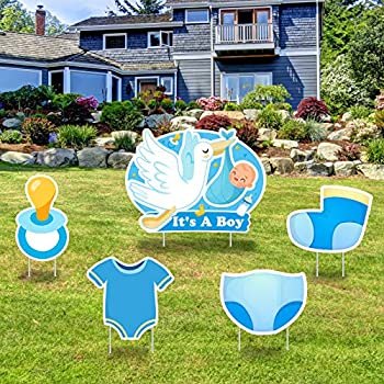 Greatingreat IT'S A BOY Blue Yard Signs with Stakes –Boy Special Delivery - It's A Boy Stork Baby Shower Yard Sign Lawn Decorations -Welcome Home Baby Lawn Sign- Gender Reveal Baby Shower-5PCS