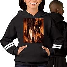 3D Fire Lone Eyes Wolf Long Sleeve Teen Fun Hooded Sweatshirt Unisex