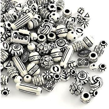 Charming Beads Pacco 30 Grams Bianco//Nero Acrilico 15-25mm Misto Perline HA25310