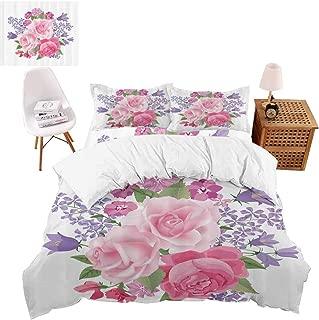 vroselv-home 4 Piece Quilt Cover, Bridal Bouquet Pattern Print Technique King Duvet Cover Set - King Size/NO Comforter