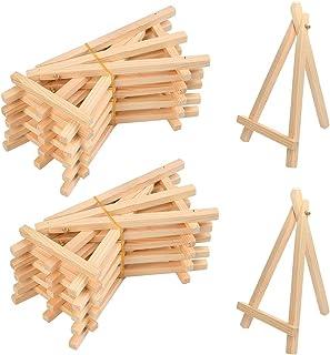 YOTINO 20 PCS Petit Chevalet Triangle en Bois Mini présentoir pour Photos, Cartes de Visite ou Petites Toiles 16x9cm
