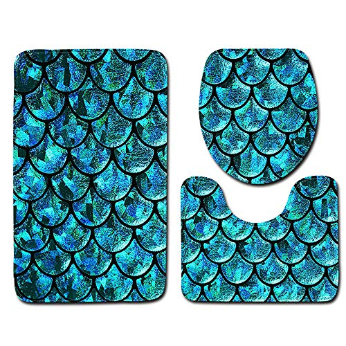 Best Seller 3 Pieces Fish Scale Bathroom Toilet Mat Three-Piece Suit Bathroom Mat Toilet Carpet Door Mat E1 45X75Cm