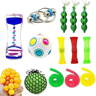 15 Pack Bundle Fidget Sensory Toys Set-Bike Chain/Liquid Motion Timer/Rainbow Magic Ball/Stretchy String Toys/Fidget Cube/Squeeze-A-Bean Soybeans and Squeeze Grape Ball