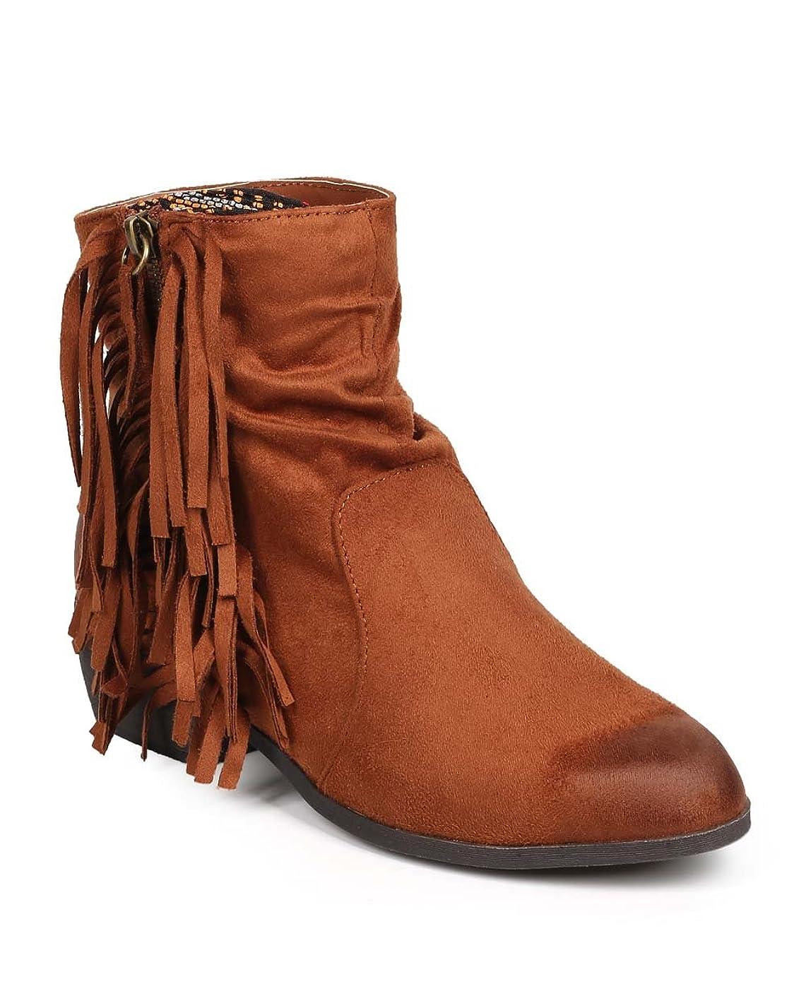 ダニ認可劇的Qupid da52レディースSuede Tribal Zip Western Fringe Ankle Bootie?–?Dark Rust
