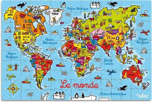 Vilac 2604 - Cartina Geografica del Mondo Puzzle, in Valigia, Legno Colorato
