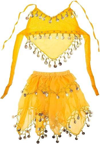 TOPTIE Costume De Danse du Ventre Tribal Enfant Halter Top & Jupe pour Halloween