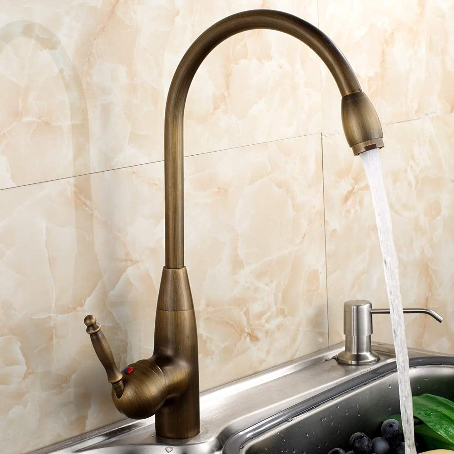 Decorry Kitchen Faucets Brass Basin Mixer Tap Antique Brushed 360 Swivel Faucet 506A