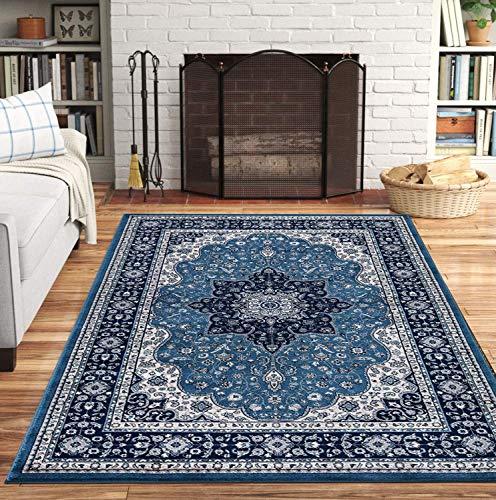 aasdf Teppiche Wohnzimmer groß 160x230 - Blumenmuster Traditionelle Wollteppiche - Low Pile Non Shed Anti-Rutsch-Weiche Klassische Teppiche für Schlafzimmer - Rom Blau