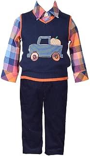 Bonnie Jean 3 件毛衣背心带卡车贴花衬衫和裤子套装 3-6 个月