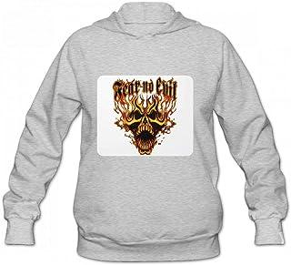 恐怖の邪悪な炎のスカル Women Hoodie Sweater レディーズ トップス パーカー アクティブウェア