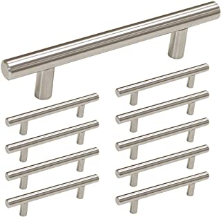 homdiy Brushed Nickel Cabinet Handles 10 Pack 3-3/4 in Hole Center Drawer Pulls - HD201SN T Bar Cabinet Pulls Metal Drawer Pulls Brushed Nickel Cabinet Harfdware Pulls for Kitchen, Bathroom, Closet