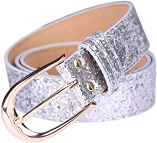 Sequin Studded Women Leather Belts for Jeans Gold Buckle …