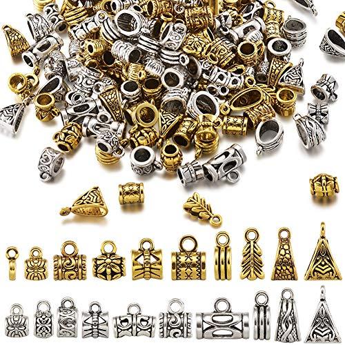 Beadthoven 200 piezas de 20 estilos tibetanos columnas de bolas espaciadoras de metal para percha de cuentas de tubo de metal, colores mezclados para pulseras europeas