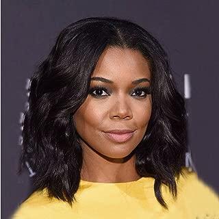NiceToBuy Glueless Short Bob Wavy Brazilian Virgin Human Hair U Part Wigs for Women #1b Natural Black Color 12inch