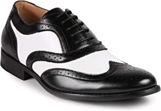 MC145 Men's Two Tone Perforated Wing Tip Lace Up Oxford Dress Shoes