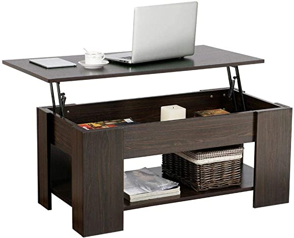 Topeakmart Lift Top Coffee Table With Hidden Storage Compartment For Living Room Office Reception Room Espresso