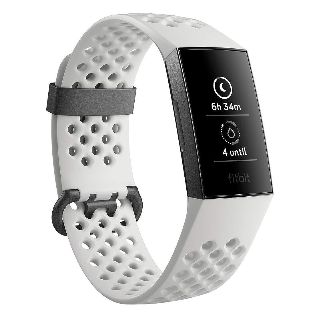 誘発する報酬取得するFitbit Charge3 フィットネストラッカー White Sports Band/Graphite L/Sサイズ スペシャルエディション [日本正規品] FB410RGLV-CJK