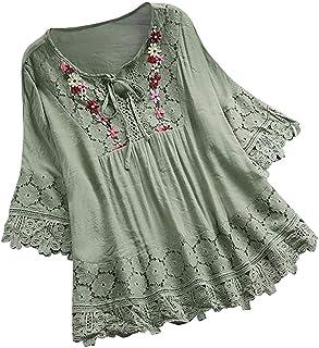 YOCheerful Women Loose Shirt, Short Sleeve Shirt Cotton Linen Plus Size Tunic