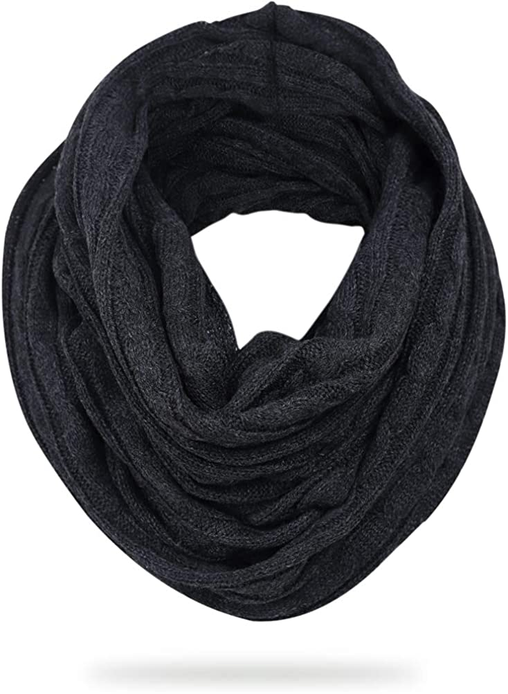FORBUSITE Stylish Mens Cable Knit Infinity Scarf for Winter, Soft and Warm