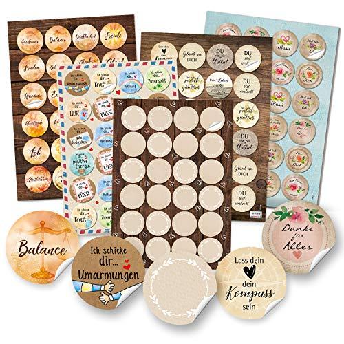 Logboek-uitgeverij spreuken stickers verschillende sets - 4 cm en 3,2 cm sticker goede wensen gezondheid hart liefde milieu Set 4