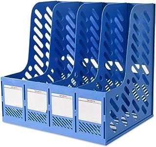 حامل ملفات مجلة Marte Vanci 4 أقسام منظم للكتب المكتبية وأركان تخزين بلاستيكية متينة باللون الأزرق