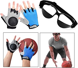 Basketball Dribble Skill Training Assistants, 2 Sets of Basketball Dribbling Glasses Goggles and Finger Training Anti Grip Dribble Gloves for Kids Youth and Adult