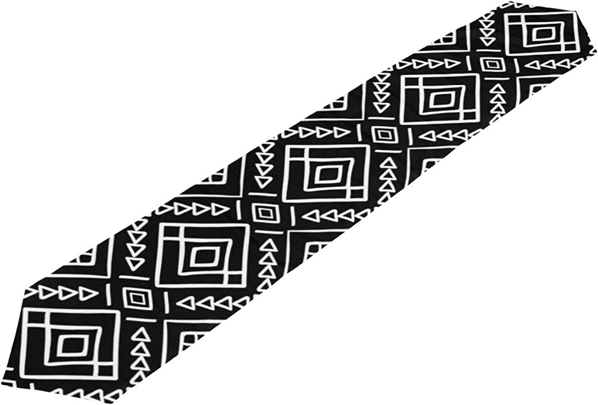 My Daily Aztec Tribal Black White Stripe Table Runner 13 X 90 Inch Polyester Table Top Decoration Home Decor