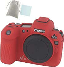 No.2 Warehouse Soft Silicone Armor Skin Rubber Protective Camera Case Compatible with Canon EOS R Camera (Red)+ a Piece of Clean Cloth