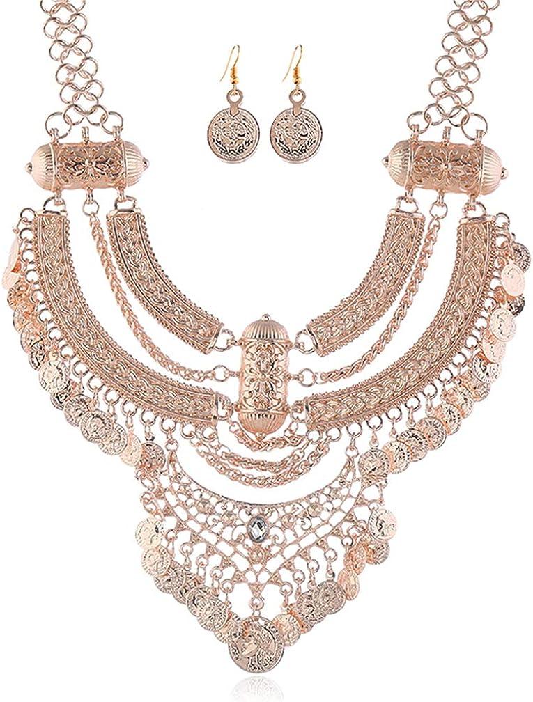 Thkmeet Women Boho Choker Coin Tassel Ethnic Gypsy Chunky Necklace and Earring Set Bib Festival Halloween Carnival Jewelry