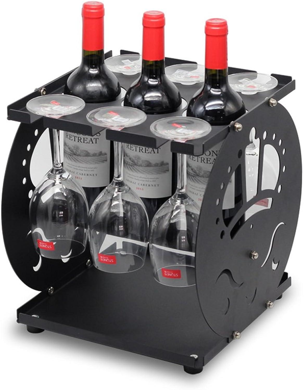ventas directas de fábrica Wine Wine Wine Rack Stemware Rack, Soporte De Metal Stemware Holder para Cocina De Barra, 30 X 31 X 31,6 Cm Sostenga hasta 3 Botellas De Vino Y 6 Stemware ++  alta calidad
